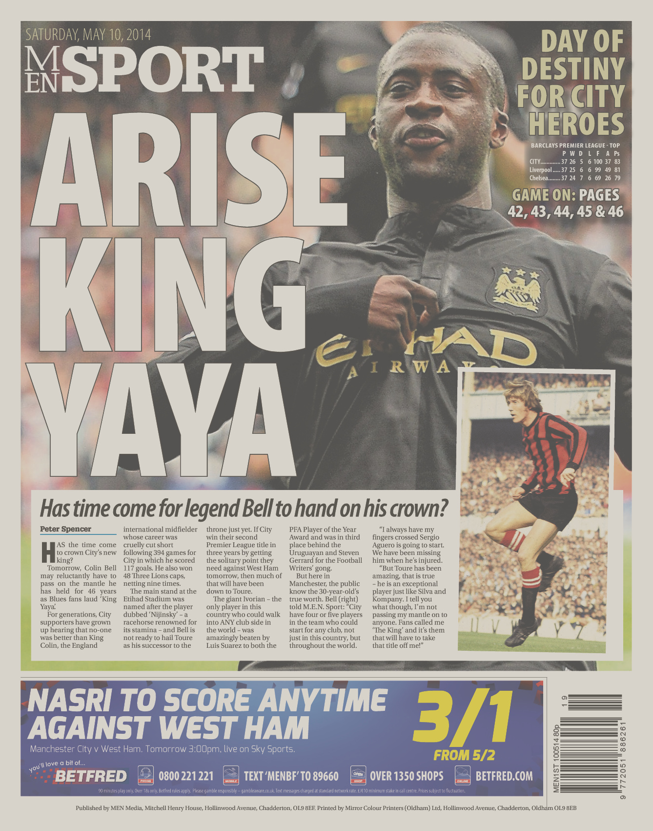 Manchester Evening News back page image